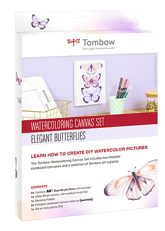 Set de toiles de Watercoloring Tombow papillons élégants
