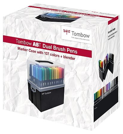 Tombow ABT Dual Brush Pen Stiftebox mit 107 Farben + blender