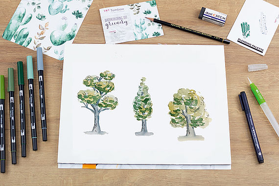 Paint a tree in a loose watercoloring style
