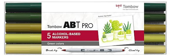 Tombow ABT PRO set of 5 Green Colors